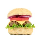 Close up of fresh hamburger. Royalty Free Stock Images