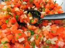 Close up on fresh home made salsa with serving spoon. Close up on freshly made pico de gallo salsa with a serving spoon. traditionally made from chopped tomato royalty free stock images