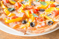 Close up fresh homemade pizza Royalty Free Stock Images
