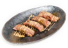 Close up  on fresh  Japanese Kobe Matsusaka Beef rolls Stock Photo