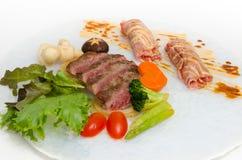 Close up  on fresh  Japanese Kobe Matsusaka Beef rolls Royalty Free Stock Images