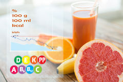 Close up of fresh juice glass and fruits on table Stock Image