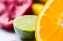 Close up of fresh juicy orange and lime Royalty Free Stock Photo