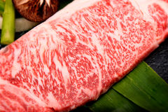 Close up fresh Kobe Miyazaki beef Royalty Free Stock Photos