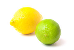 Close up of fresh lime and lemon isolated on white Royalty Free Stock Images