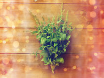 Close up of fresh melissa bunch on wooden table. Botany, gardening and herbs concept - close up of fresh melissa bunch on wooden table stock photo