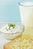 Close Up Of Fresh Milk And Cheese Products Royalty Free Stock Photos