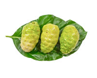 Close up of fresh noni on green leaf Stock Photography