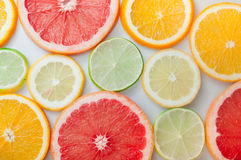 Close up of fresh orange, grapefruit, lime and lemon slices Stock Photos