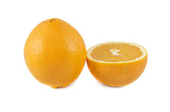 Close up of fresh orange. Isolated over white Royalty Free Stock Images