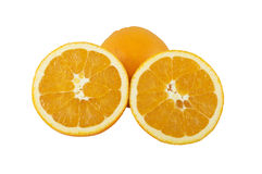 Close up of fresh orange. Isolated over white Stock Photos