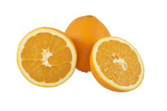 Close up of fresh orange. Isolated over white Royalty Free Stock Photo