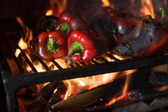 Preparing traditional Balkan`s delicacy Ajvar, grilling paprika on an open flame. Close-up of fresh organic red paprika being grilled on open flame. Preparing royalty free stock photo