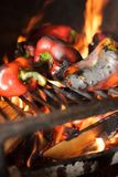 Preparing traditional Balkan`s delicacy Ajvar, grilling paprika on an open flame. Close-up of fresh organic red paprika being grilled on open flame. Preparing stock image