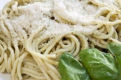 Close-up Fresh Pesto Pasta Stock Images