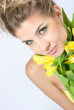 Close-up fresh portait with tulips Stock Image