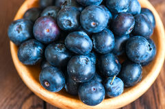 Close up of fresh raw blueberries served in a wooden plate. Wood. En background and copy space. Helthy eating and gardening concept Royalty Free Stock Photography