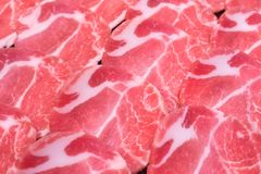 Fresh raw pork slices. Close up fresh raw pork slices for shabu or bbq Stock Photography