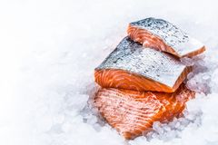 Close-up Fresh raw salmon fillets on Ice Stock Photography