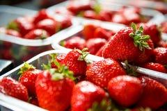 Close up of fresh red ripe strawberries in transparent plastic c stock photos