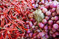 Close-up fresh red shallots and red chilli. On market place Royalty Free Stock Photos