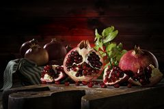 Close up of fresh ripe pomegranates stock photo