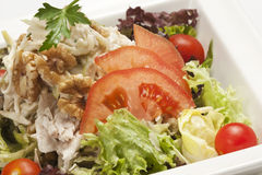 Close-up of fresh salad. With tuna, nuts, vegetables Stock Photo