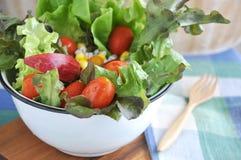 Close up Fresh Salad in Big Bowl Stock Photos