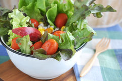 Close Up Fresh Salad In Big Bowl Stock Photos