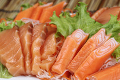 Close up Fresh Salmon sashimi set Stock Photography