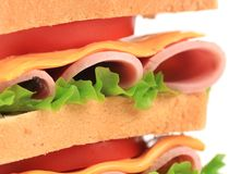 Close up of fresh sandwich with ham. Stock Images