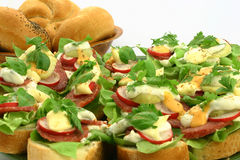 Close up at fresh sandwiches. Delicious sandwiches with salami, raddish, basil and sauces next to breadrolls Royalty Free Stock Photos