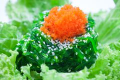 Close up of fresh seaweed salad with egg shrimp and White Sesame Royalty Free Stock Image