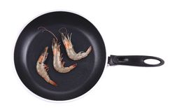 Close up of fresh shrimps on frying pan. Royalty Free Stock Photos