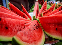 Close-up of fresh slices of red watermelon Stock Photo