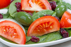 Close up of Fresh Spinach Salad on White Plate Stock Photos