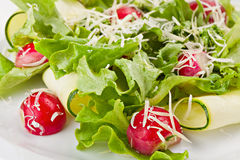 Close-up of Fresh Spring Vegetable Healthy Salad. With  Radish,Cucumber,Onion, and a little grated Parmesan Сheese.Selective focus Stock Photo