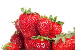 Close up of fresh strawberries, isolated Royalty Free Stock Photo