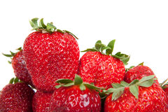 Close up of fresh strawberries, isolated Royalty Free Stock Images