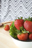 Close up fresh strawberry in bowl Stock Photo