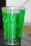Close up of fresh summer drink, mint with carbonated water, ice Stock Images