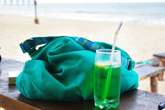 Close up of fresh summer drink, mint with carbonated water, ice royalty free stock photo