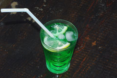 Close up of a fresh summer drink, mint with soda, ice cubes and Royalty Free Stock Image