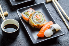 Close up of fresh sushi with soy sauce royalty free stock photos