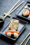 Close up of fresh sushi with soy sauce stock images