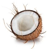Close-up of a coconuts on white background. Close-up of a fresh tasty coconuts. Isolated on white background Stock Image
