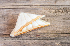 Close up fresh and tasty sandwich on wooden table Royalty Free Stock Image