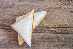 Close up fresh and tasty sandwich on wooden table Royalty Free Stock Images