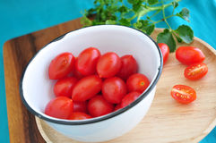 Close up fresh tomato in bowl Stock Photography
