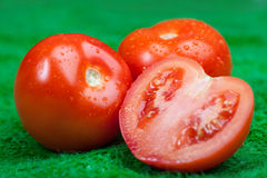 Close up of fresh tomatoes in drops, of water on on the green grass Royalty Free Stock Photo
